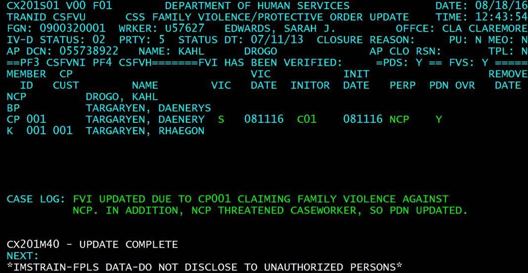 CSML Screen in OSIS