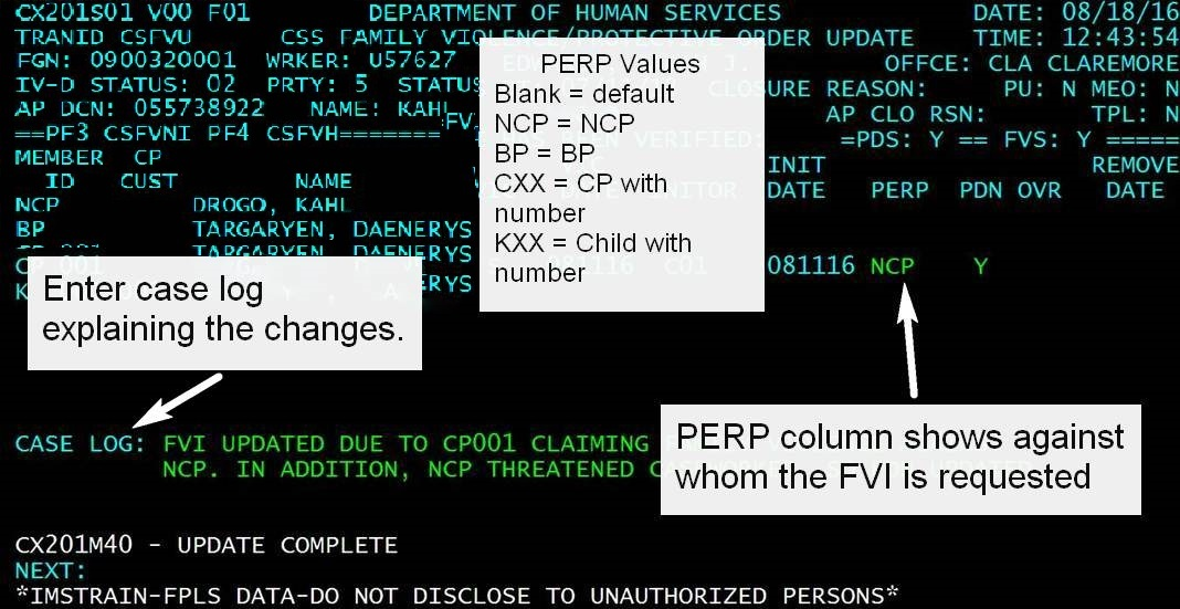 CSML screen with PERP Values