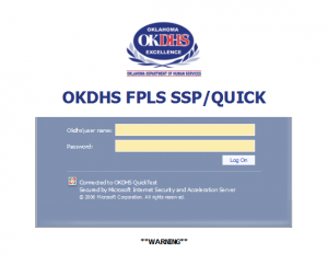 Blank OKDHS FPLS SSP/QUICK Child Support Portal log in screen