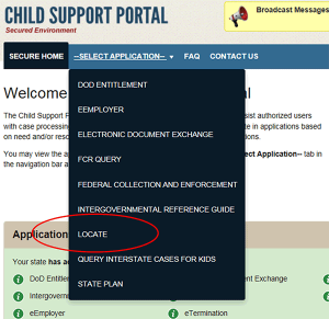 Child Support Portal screen with LOCATE circled