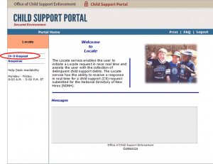 Child Support Portal screen with IV-D Request circled