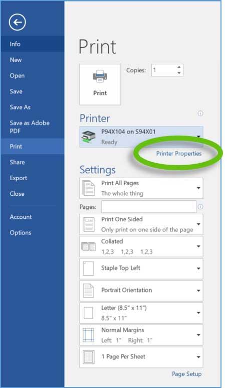 Highlights Printer Properties selection