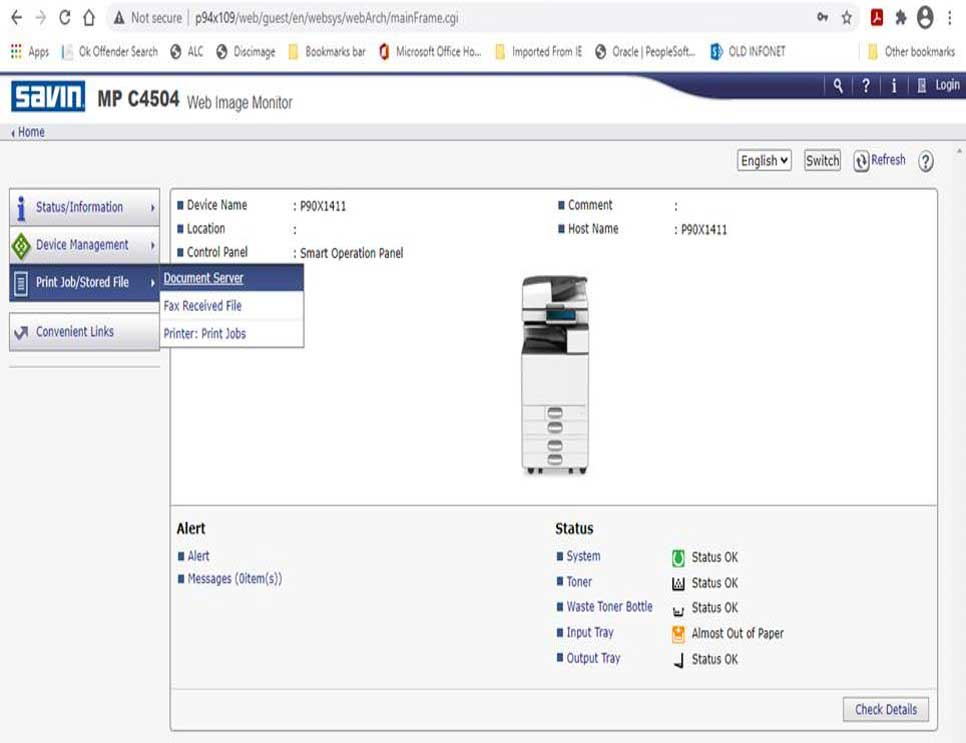 Savin Web Image Monitor