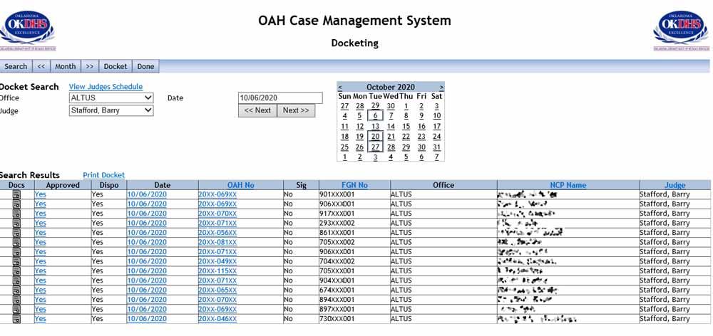 OAH Docketing screen
