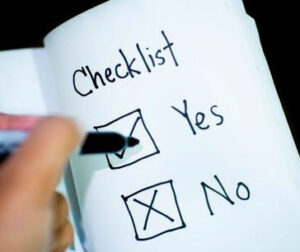 Checklist, yes and no are checked.